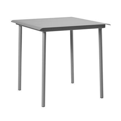 Table carrée Patio Café / Inox - 75 x 75 cm - Tolix gris souris en métal