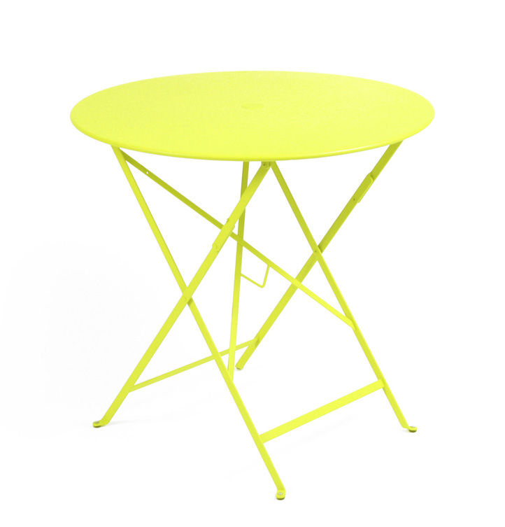 Outdoor - Tables de jardin - Table pliante Bistro / Ø 77cm - Trou pour parasol - Fermob - Verveine - Acier laqué