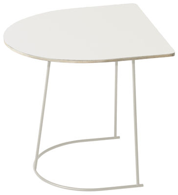 Arredamento - Tavolini  - Tavolino d'appoggio Airy Half - / 44 x 39 cm di Muuto - Bianco / Gamba bianca - Acciaio verniciato, Compensato, Stratificato