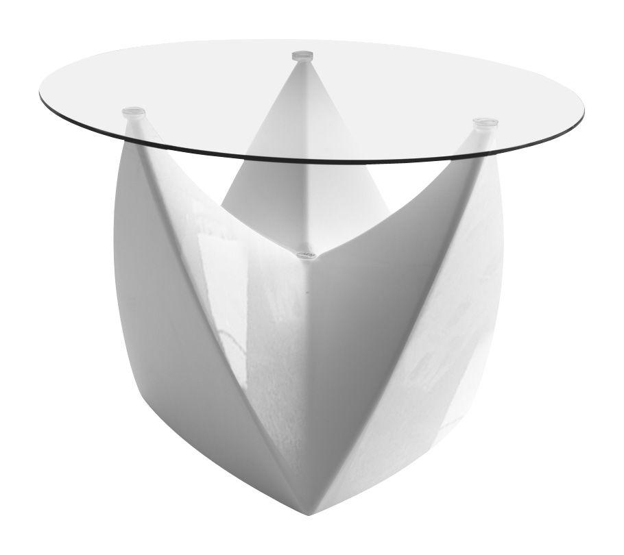 Arredamento - Tavolini  - Tavolino Mr. LEM - versione laccata di MyYour - Bianco laccato - Piano trasparente - Polietilene rotostampato, Vetro