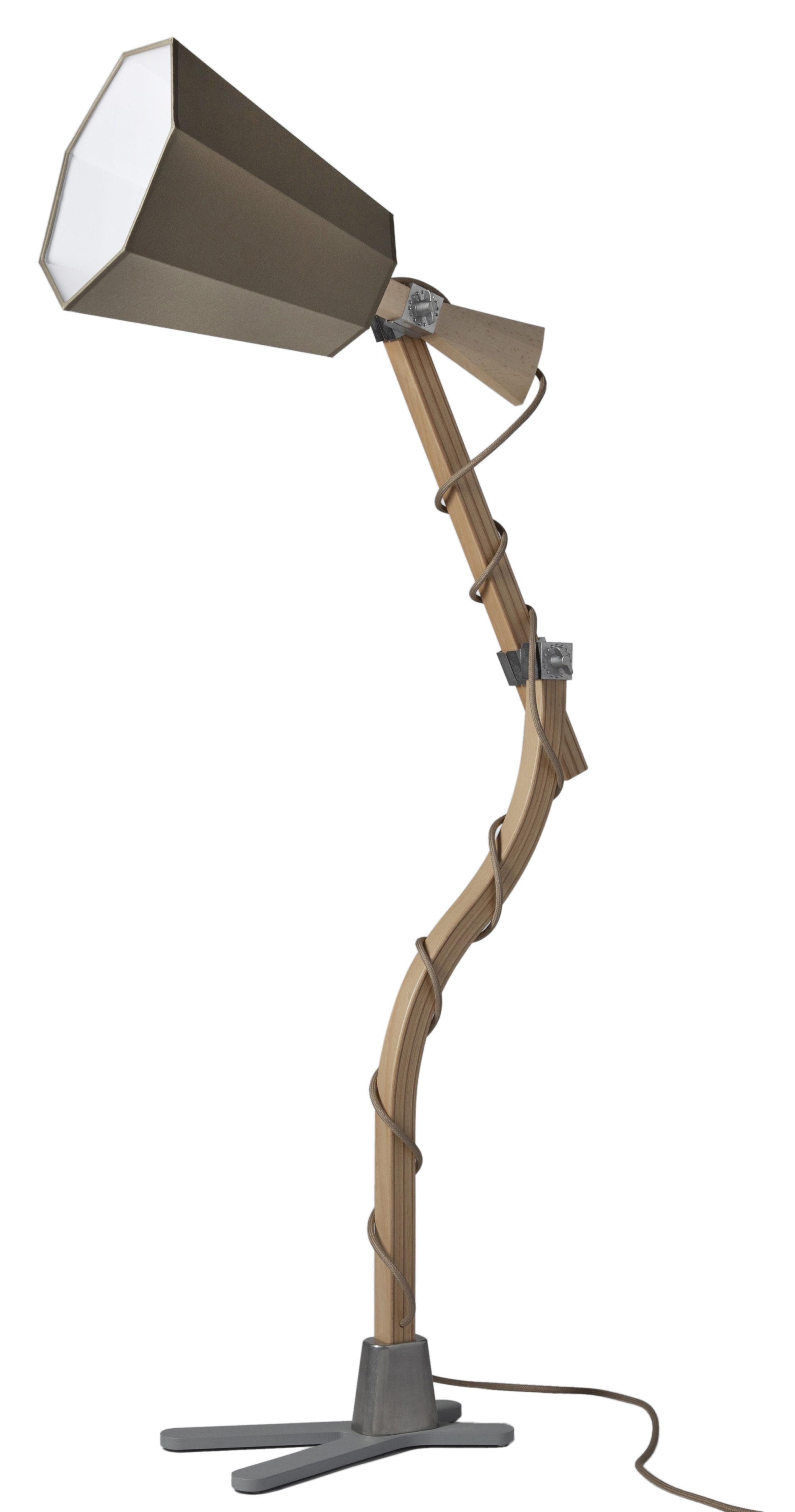 Leuchten - Tischleuchten - LuXiole Tischleuchte H 88 cm - Designheure - Lampenschirm khaki / Innenseite weiß - Baumwolle, Buchenfurnier, lackierter Stahl