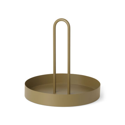 Tableware - Trays and serving dishes - Grib Tray - / Ø 28 cm - Metal by Ferm Living - Olive green - Powder coated metal