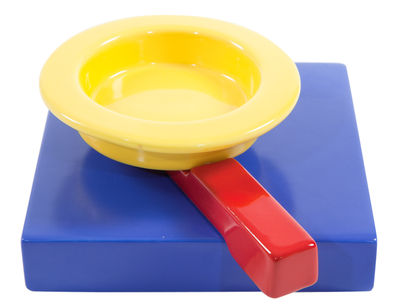 Vide-poche Squash / cendrier by Maria Sanchez / 1985 - Memphis Milano bleu/jaune/rouge en céramique