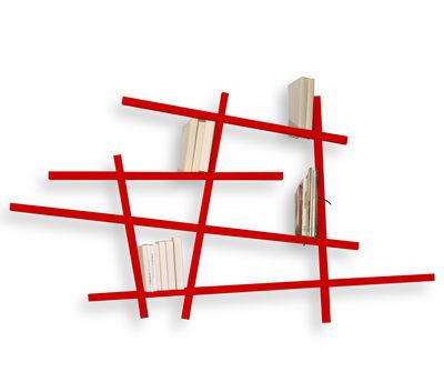 Mobilier - Etagères & bibliothèques - Bibliothèque Mikado Small / L 185 x H 100 cm - Compagnie - Rouge - Hêtre laqué