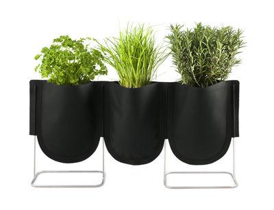 Outdoor - Töpfe und Pflanzen - Urban Garden Bag Blumentopf Set aus 3 Taschen mit Ständer - Authentics - Set aus 3 Pflanztaschen Größe S - 1 Liter / Schwarz - galvanisierter Stahl, Polyester-Gewebe