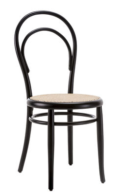 Furniture - Chairs - N° 14 Chair - / Caned seat - 1860 reissue by Wiener GTV Design - Straw seat / Black - Curved solid beechwood, Straw