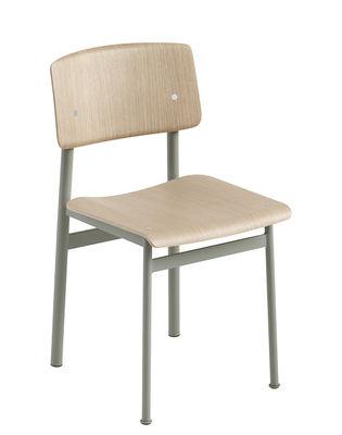 Mobilier - Chaises, fauteuils de salle à manger - Chaise Loft / Bois & métal - Muuto - Vert poudré / Chêne - Acier laqué époxy, Contreplaqué de chêne