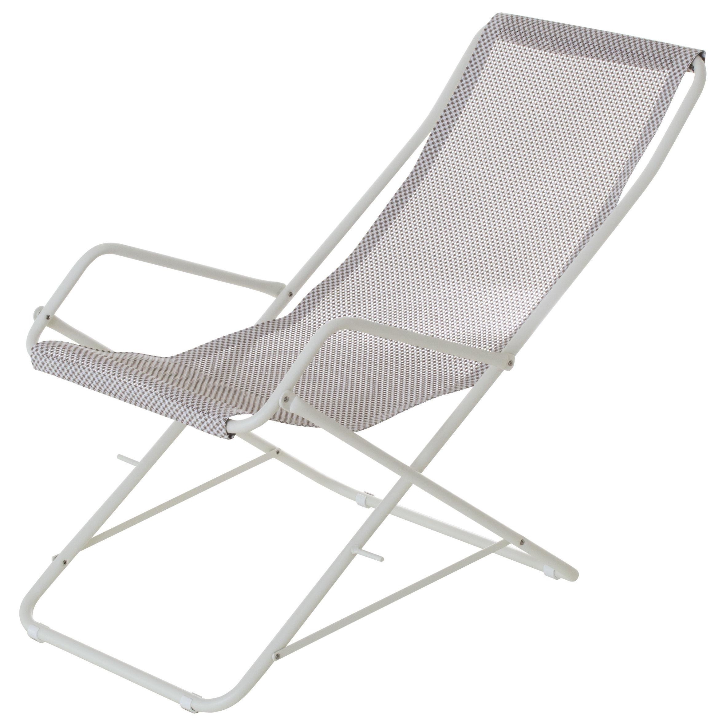 Outdoor - Sedie e Amache - Chaise longue Bahama - / Pieghevole di Emu - Tela crema / Struttura bianca - Acciaio verniciato, Tela