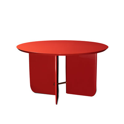 Furniture - Coffee Tables - Be Good Large Coffee table - / Ø 80 x H 45 cm - Lacquered wood by RED Edition - Saigon red - Brass, Lacquered wood