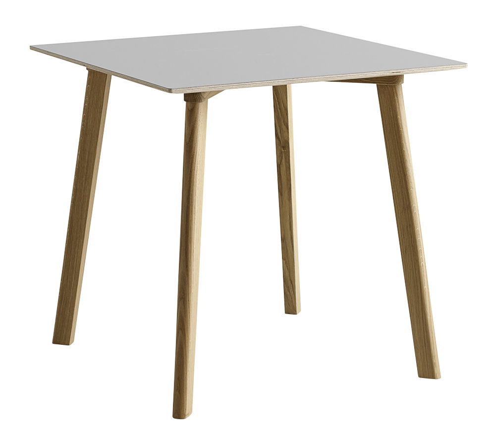 Trends - Dinner Time - Copenhague CPH DEUX 210 Square table - / 75 x 75 cm by Hay - Gris / Natural beech - Laminate, Natural beechwood, Stratified