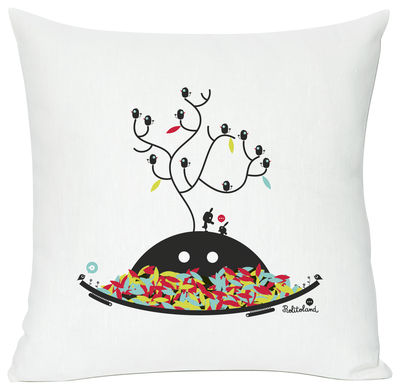 Decoration - Children's Home Accessories - Autumn wishes Cushion - Screen printed cushion made of linen & cotton by Domestic - Autumn wishes - White, black & multicoloured - Cotton, Linen