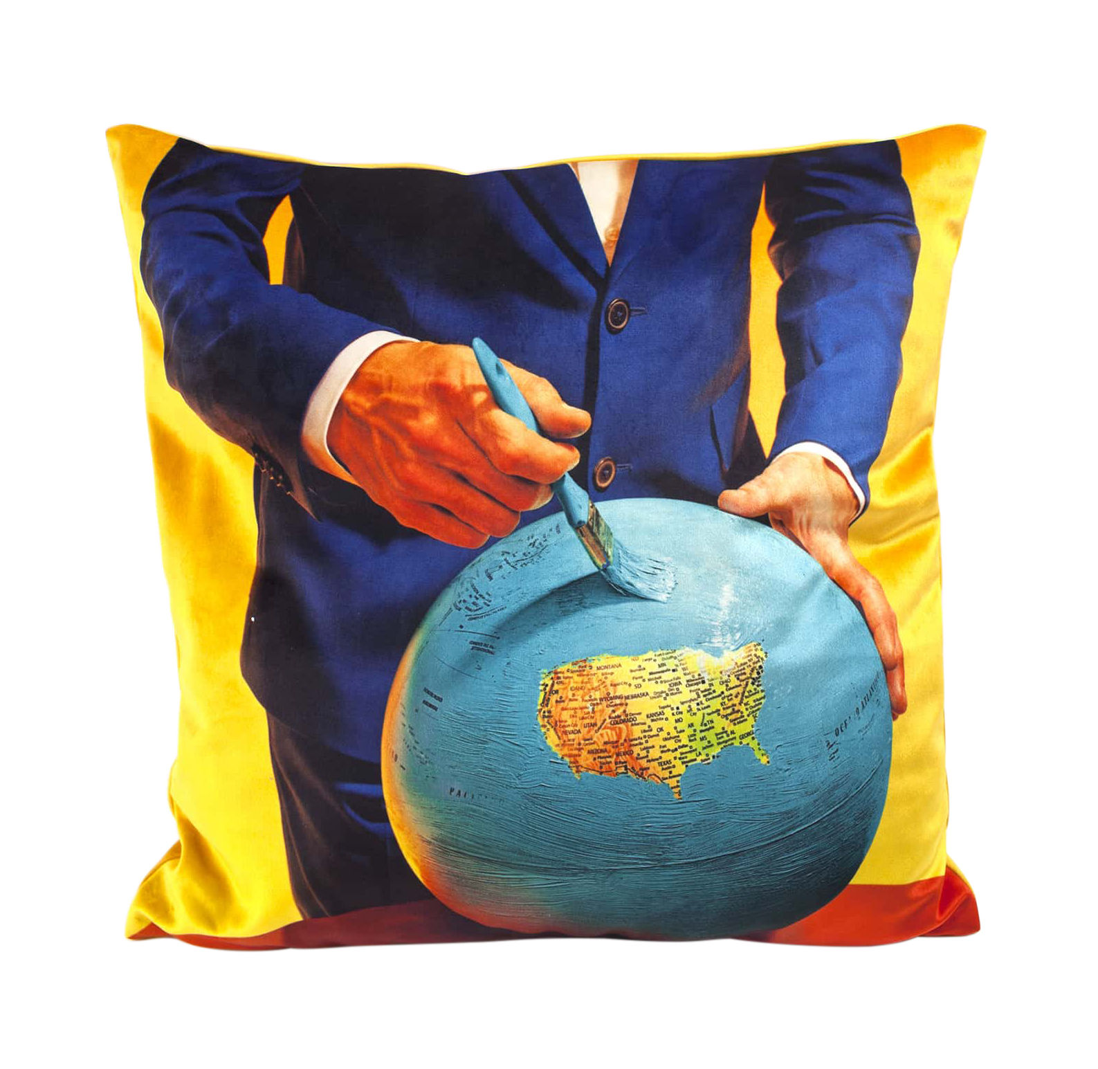Decoration - Cushions & Poufs - Toiletpaper Cushion - / Globe - 50 x 50 cm by Seletti - Globe / Multicolore - Feathers, Polyester fabric