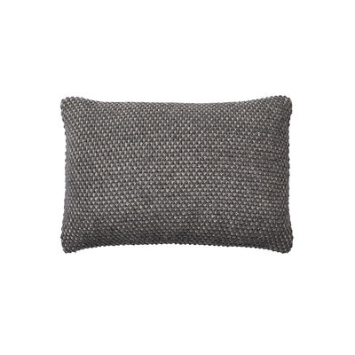 Decoration - Cushions & Poufs - Twine Cushion - / Hand-knitted baby llama wool - 60 x 40 cm by Muuto - Dark grey -  Plumes, Baby llama wool, Cotton