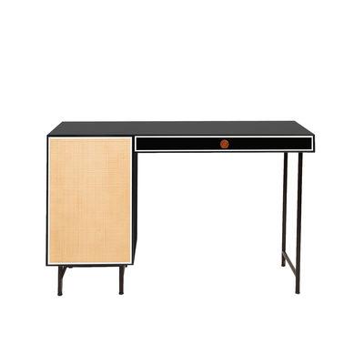 Furniture - Office Furniture - Essence Desk - / L 130 x Depth. 55 cm by Maison Sarah Lavoine - Black / Rattan - Lacquered wood, Metal, Rattan marrow