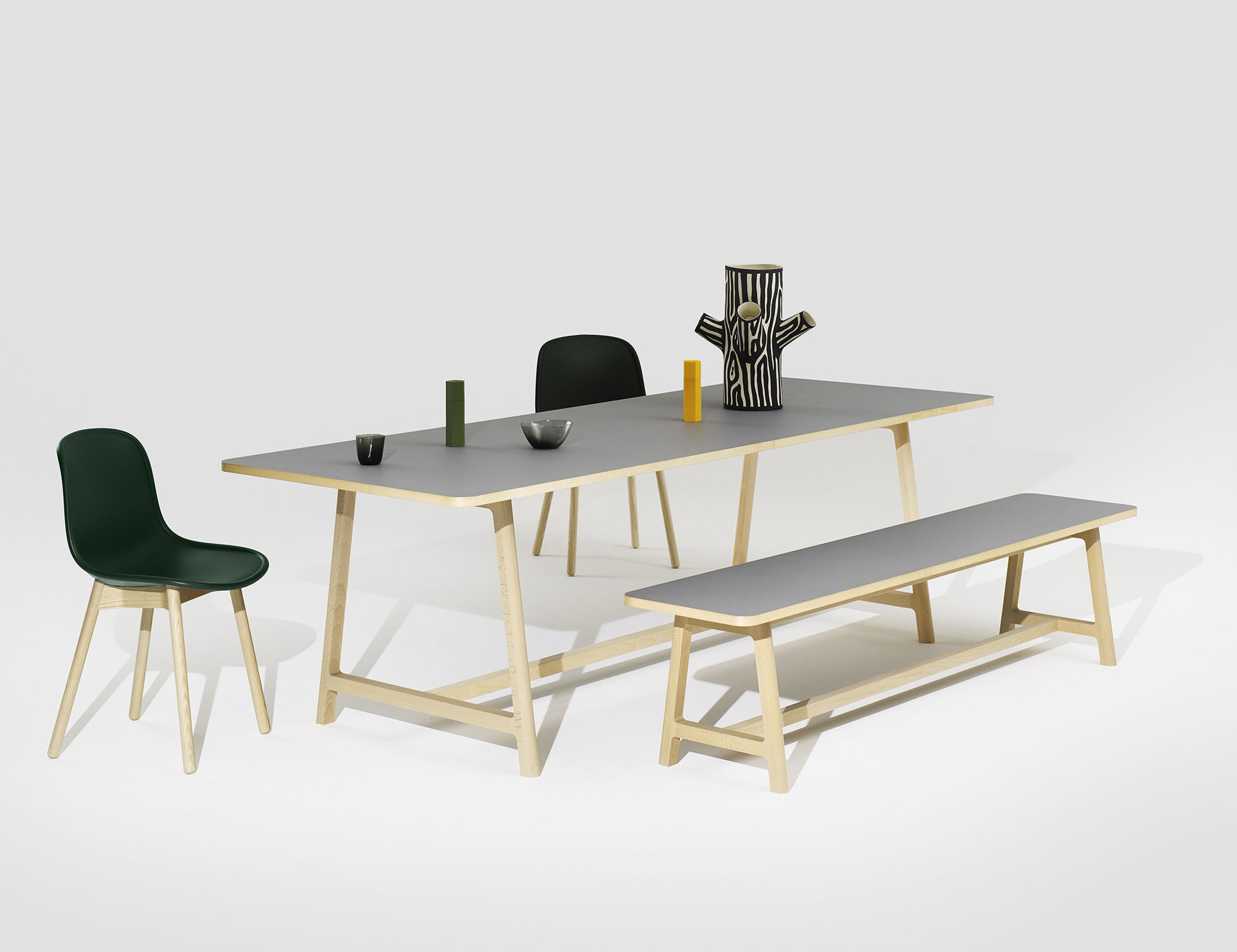 Frame extending table l 200 to 300 cm grey wood legs by hay made in design uk for Table 300 cm