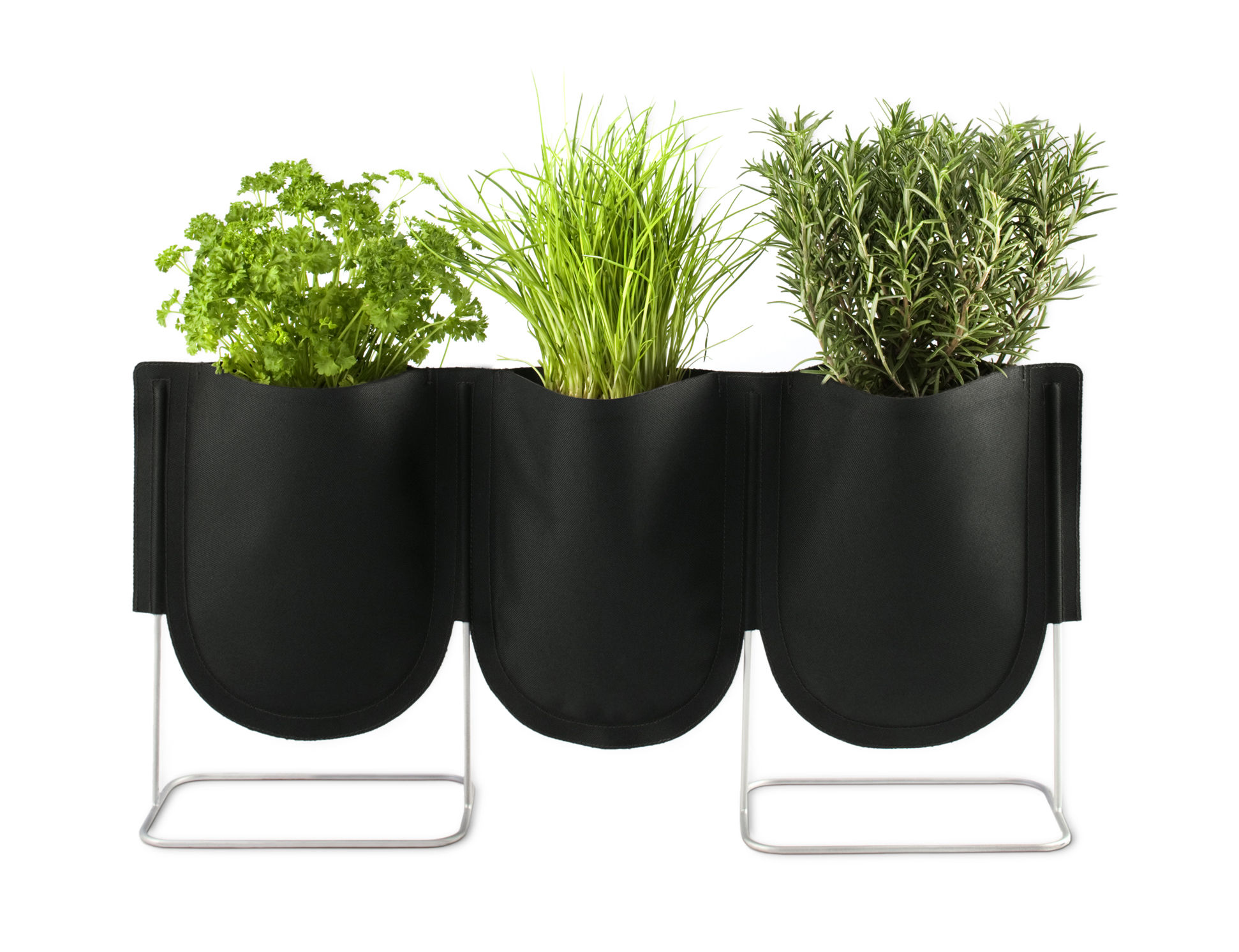 Outdoor - Pots & Plants - Urban Garden Bag Flowerpot - Set of 3 Plant bags by Authentics - Set of 3 Plant Bags S - 1 litre / Black - Galvanized steel, Polyester fabric