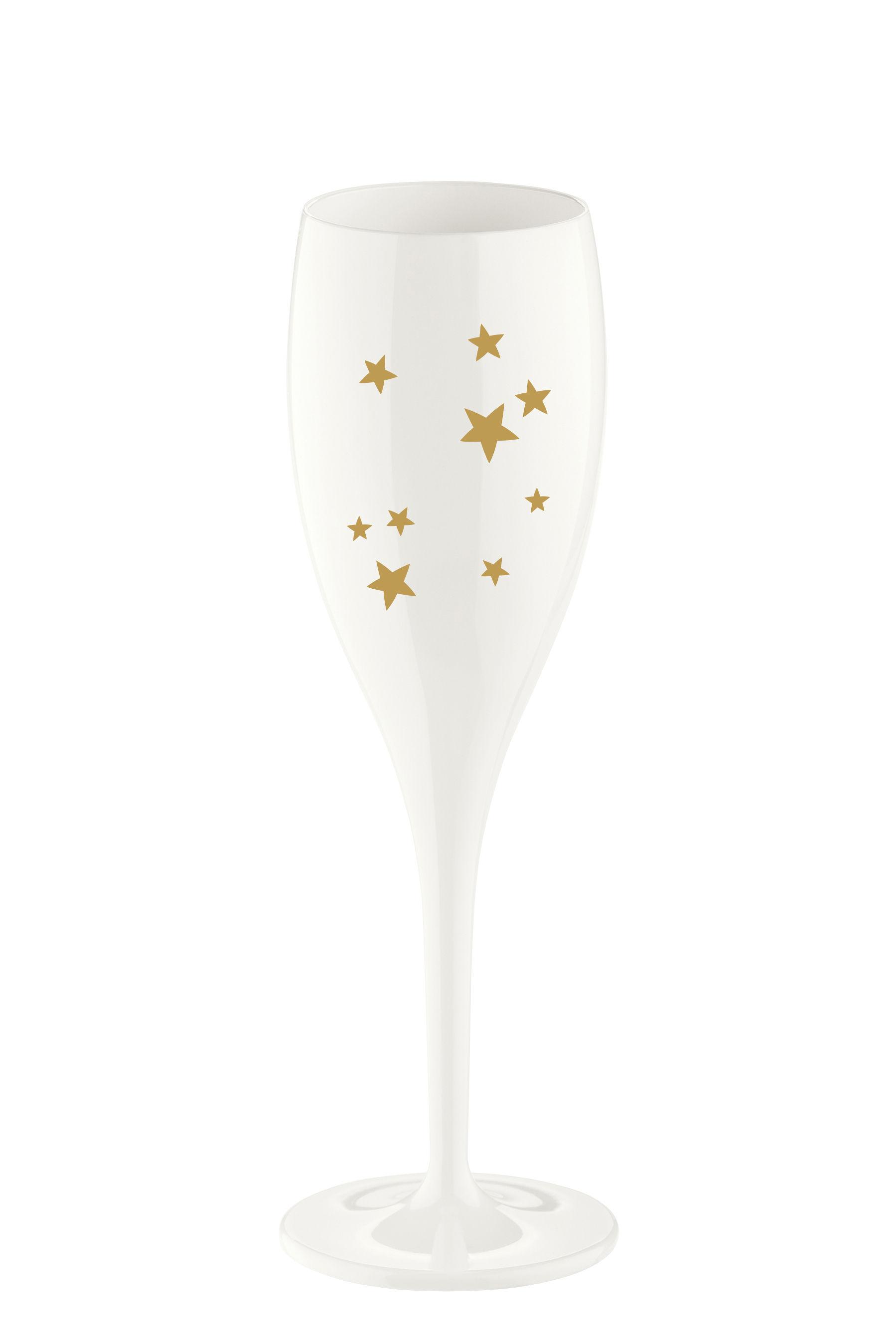 Arts de la table - Verres  - Flûte à champagne Cheers Stars / Plastique - Koziol - Blanc & Or - Plastique