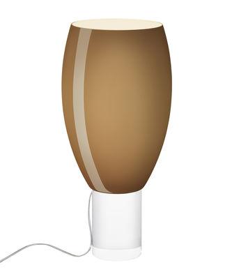 Luminaire - Lampes de table - Lampe de table Buds 1 / Verre artisanal - Ø 26 x H 56 cm - Foscarini - Marron froid / Pied transparent - PMMA, Verre soufflé