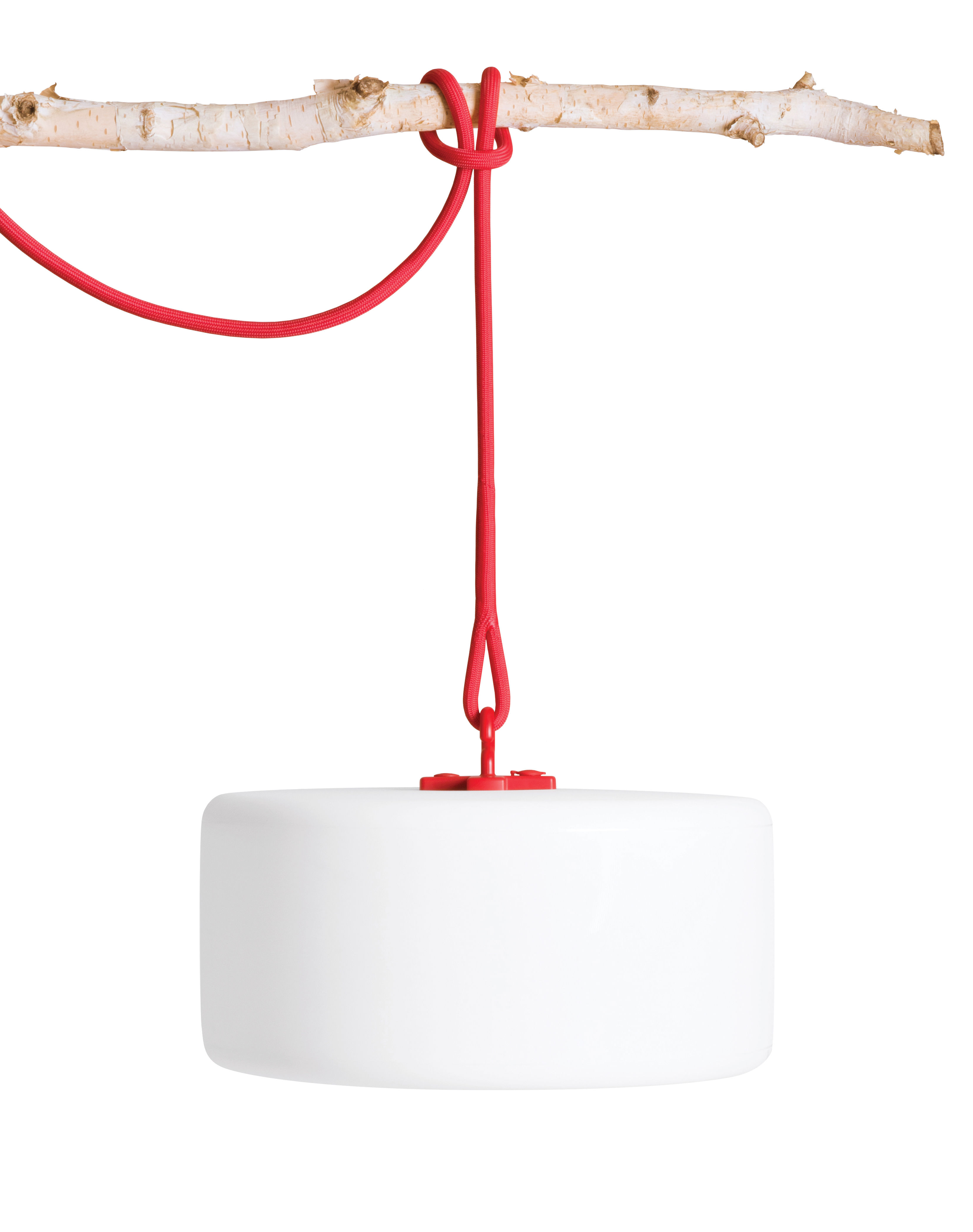 Luminaire - Lampes de table - Lampe sans fil Thierry Le swinger LED / Baladeuse à poser, suspendre ou planter - Fatboy - Rouge & blanc / Bois - Polyéthylène, Silicone