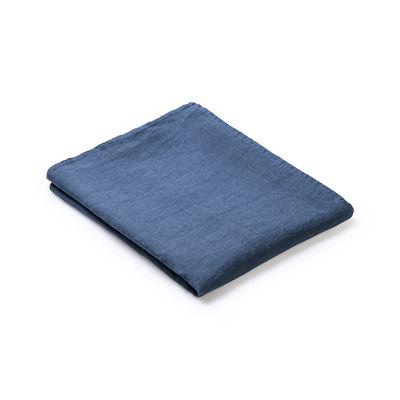 Arts de la table - Nappes, serviettes et sets - Nappe en tissu / 160 x 250 cm  - Lin traité TEFLON®anti-tache - Au Printemps Paris - Bleu pétrole - Lin
