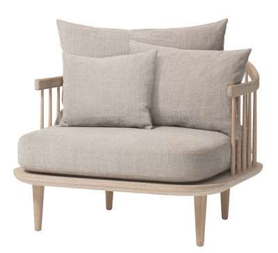 Furniture - Armchairs - FLY Padded armchair - L 87 cm by &tradition - White oak / Light grey cushions - Bleached oak, Down, Fabric, Foam