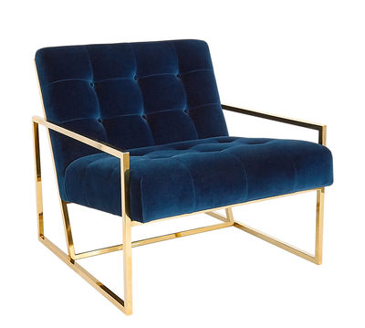 Furniture - Armchairs - Goldfinger Padded armchair - / Velvet & brass by Jonathan Adler - Navy blue / Brass - Foam, Steel with polished brass finish, Velvet