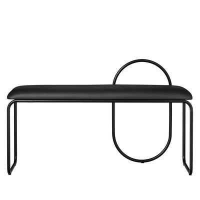 Arredamento - Panchine - Panca imbottita Angui - / Pelle - L 110 cm di AYTM - Pelle nera / Struttura nera - Espanso, Ferro laccato, Pelle