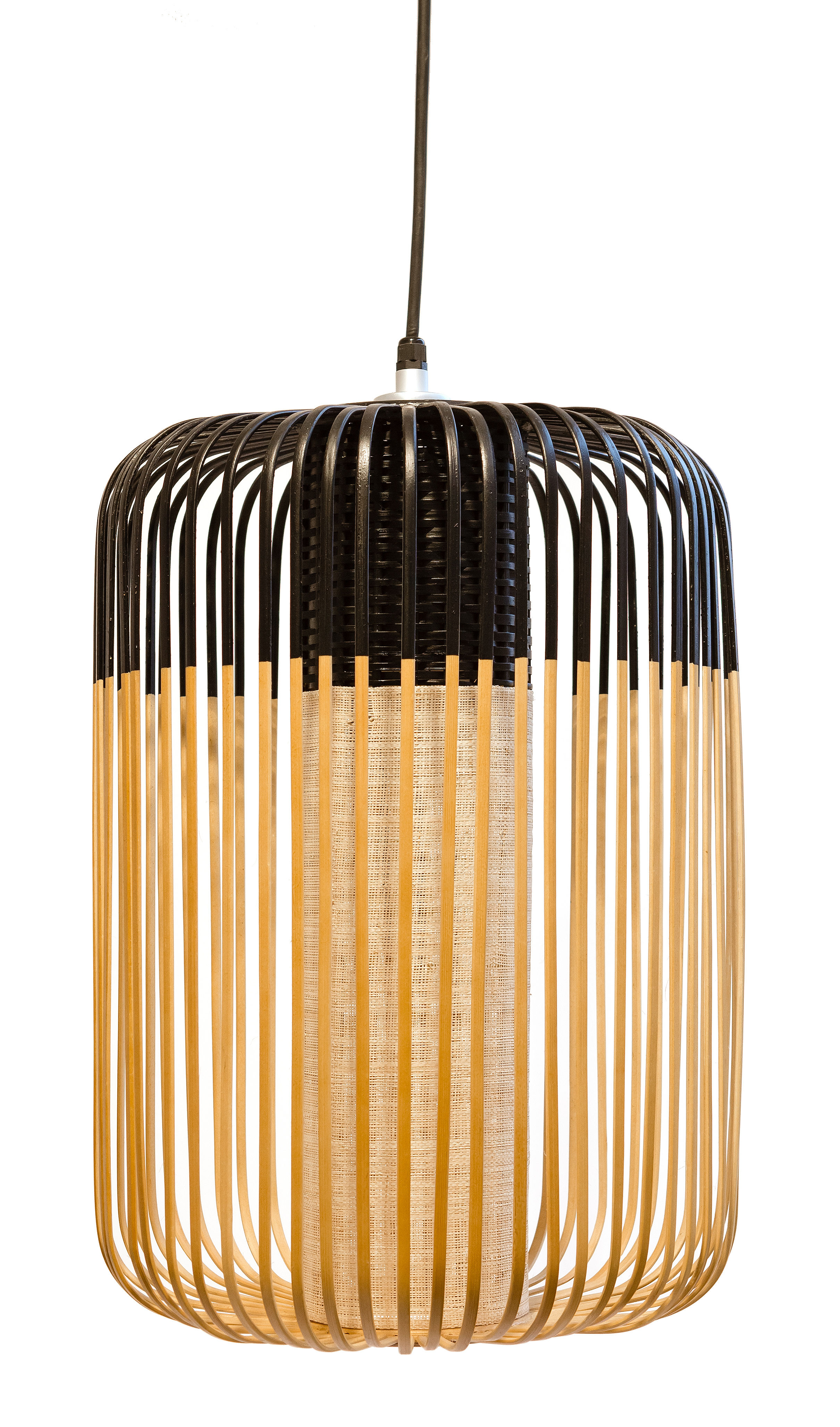 Leuchten - Pendelleuchten - Bamboo Light L Pendelleuchte / H 50 cm x Ø 35 cm - Forestier - Schwarz / natur - Gewebe, Metall, Naturbambus
