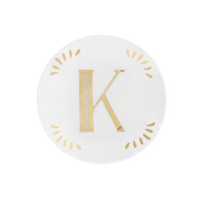 Tableware - Plates - Lettering Petit fours plates - Ø 12 cm / Letter K by Bitossi Home - Letter K / Gold - China