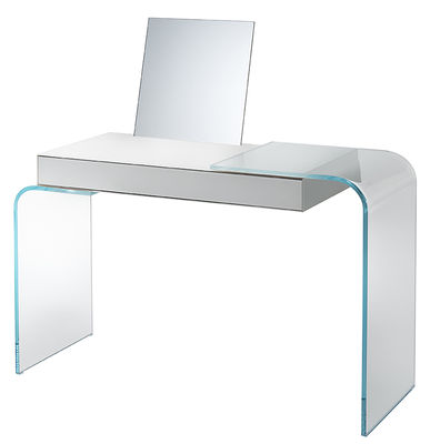 Möbel - Büromöbel - Strata Schreibtisch / Frisiertischchen - abnehmbarer Spiegel - L 125 cm - Glas Italia - Weiß / transparent - Extra klares Glas, lackiertes Glas