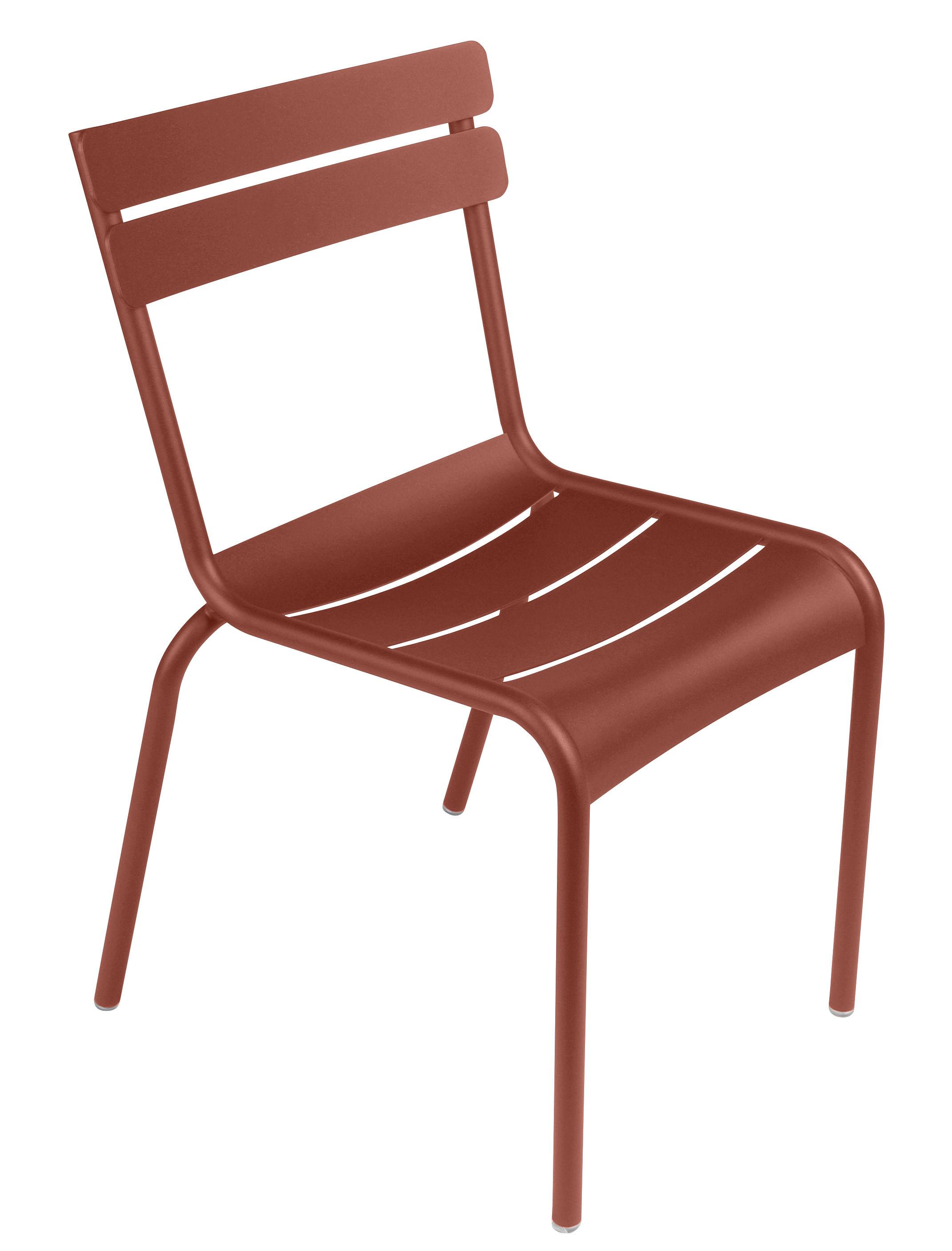 Arredamento - Sedie  - Sedia impilabile Luxembourg - / Alluminio di Fermob - Ocra rossa - Alluminio laccato
