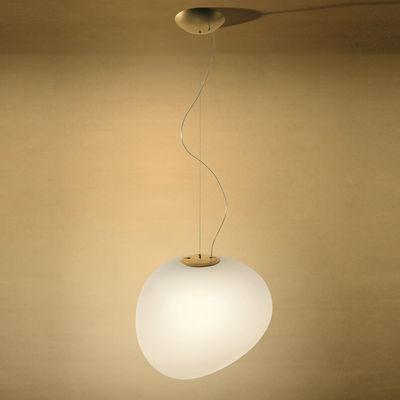 Illuminazione - Lampadari - Sospensione Gregg Grande LED My Light - / Vetro - L 47 cm / Bluetooth di Foscarini - Blanc - metallo laccato, vetro soffiato