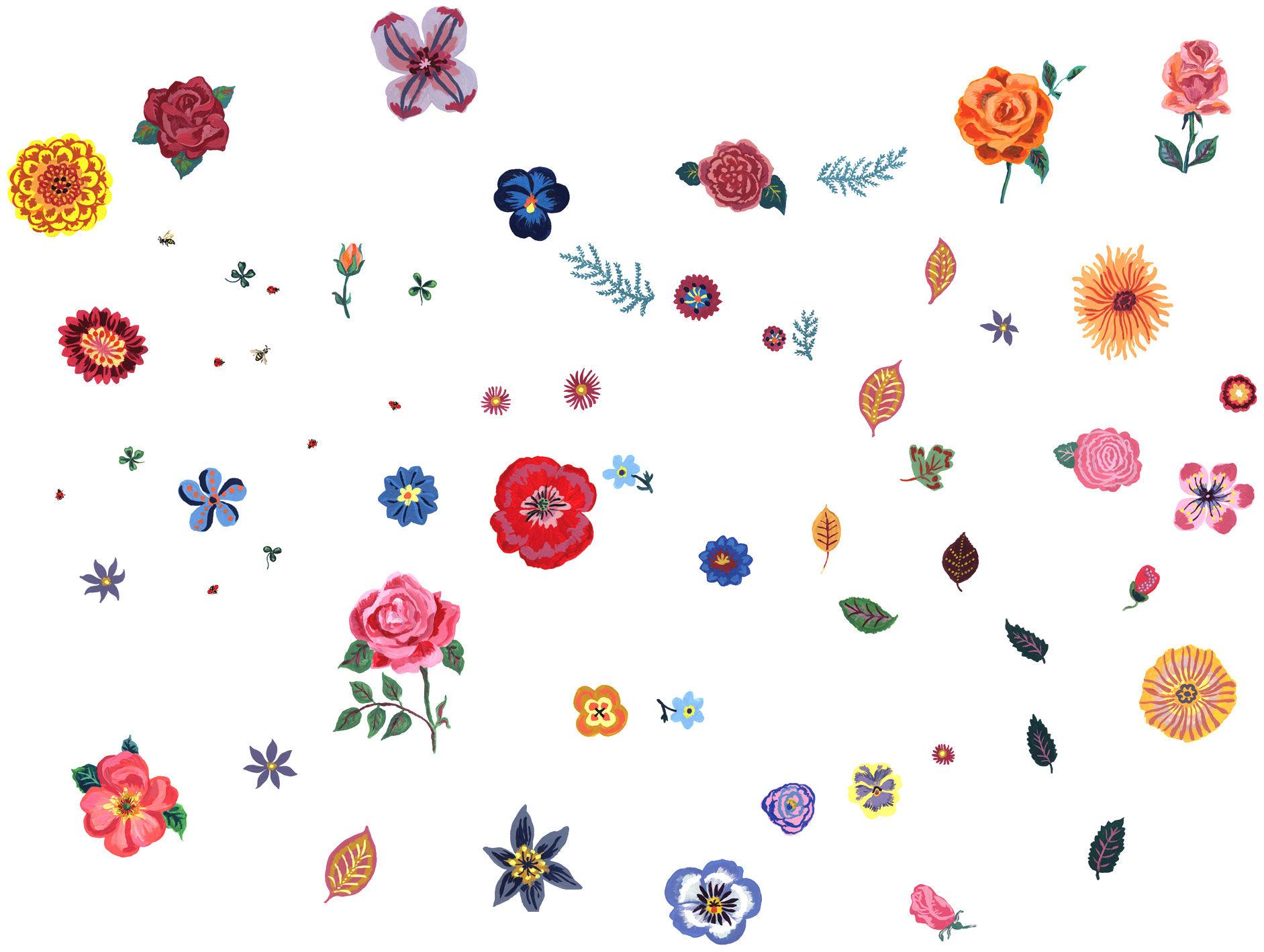 Dekoration - Stickers und Tapeten - Des fleurs Sticker 40er Set - Domestic - Mehrfarbig - Blumen - Vinyl