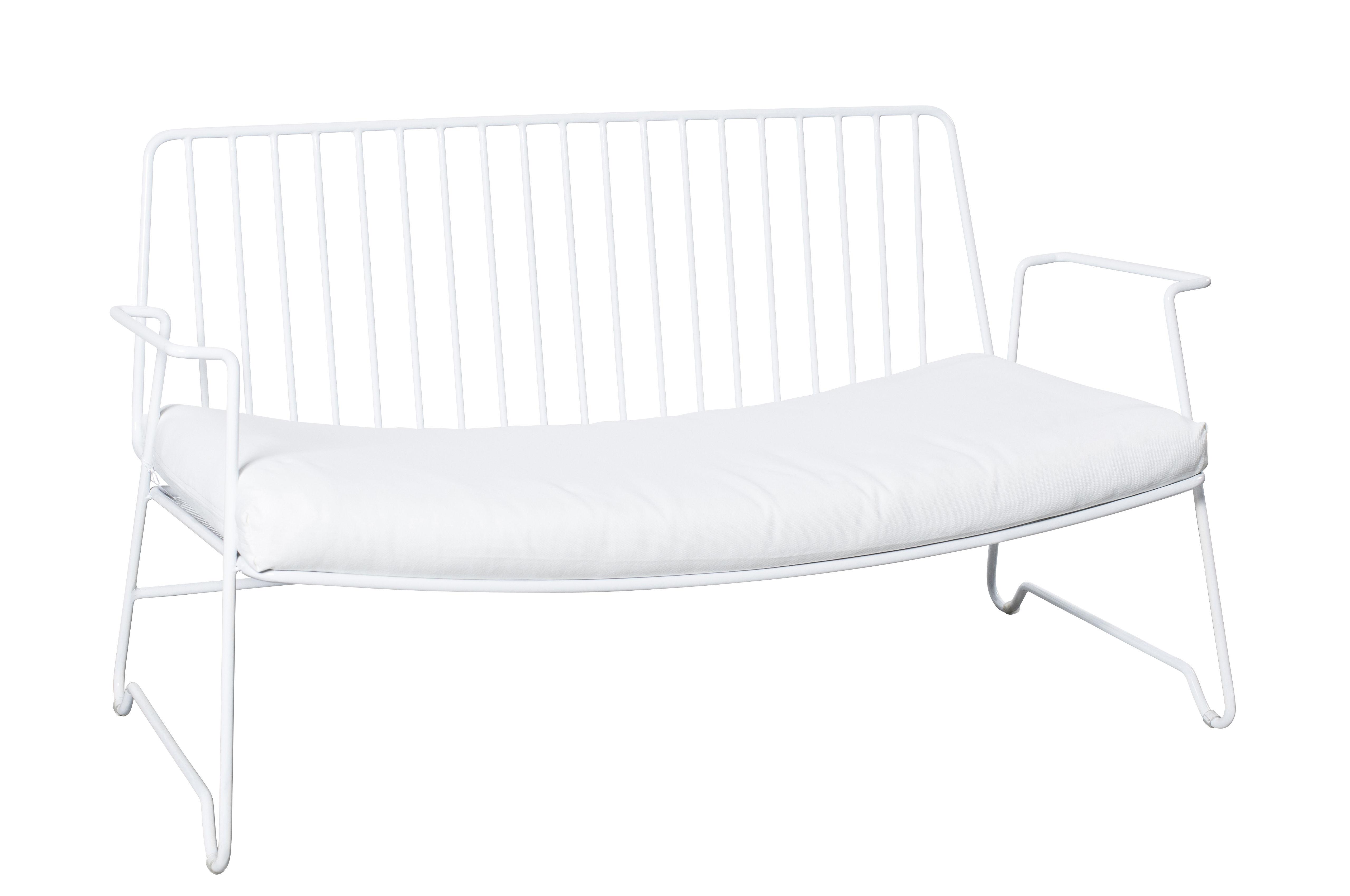 Furniture - Sofas - Fish & Fish Straight sofa - W 115 cm - With seat cushion by Serax - White - Lacquered aluminium, Polyurethane foam, Synthetic fabric