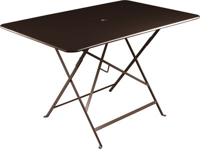 Jardin - Tables de jardin - Table pliante Bistro / 117 x 77 cm - 6 personnes - Trou parasol - Fermob - Rouille - Acier laqué