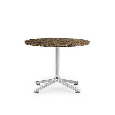 Arredamento - Tavolini  - Tavolino Lunar - / Ø 60 x H 45 cm - Marmo caffé di Normann Copenhagen - Marmo caffé / Alluminio lucidato - Alluminio fuso lucidato, Marmo