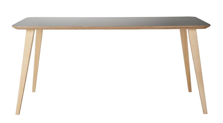 Arredamento - Tavoli - Tavolo Bob / 180 x 90 cm - Legno e HPL - Ondarreta - Grigio / gambe legno - Faggio, Multistrato di betulla, Stratificato