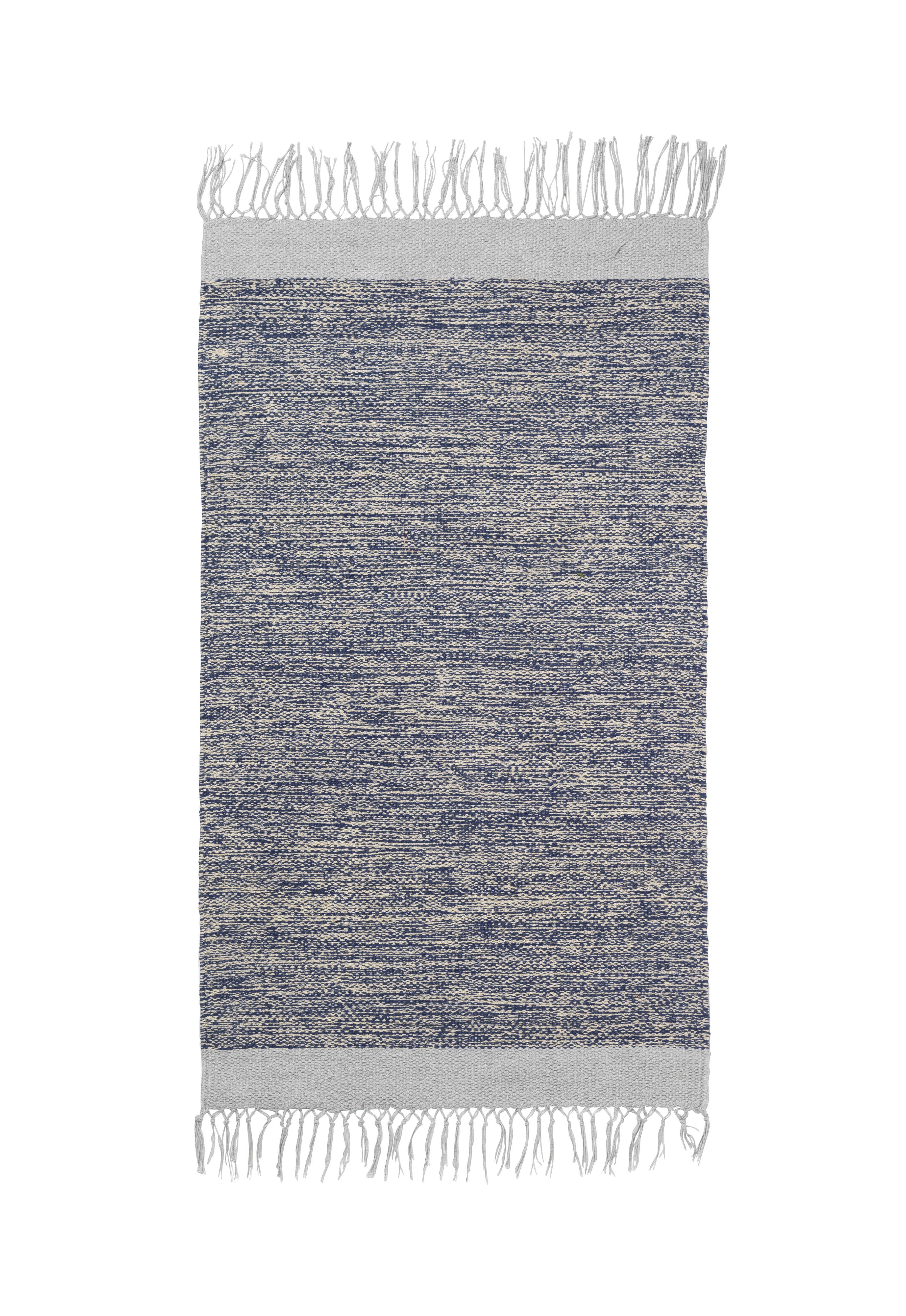 Dekoration - Teppiche - Melange Teppich / 60 x 100 cm - handgewebt - Ferm Living - Blau - 100% Baumwolle