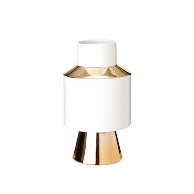 Interni - Vasi - Vaso Object Small - / Ø19,5 x H34 cm - Porcellana di Pols Potten - Small / Bianco & oro - Porcellana