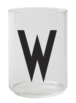 Verre Arne Jacobsen / Verre borosilicaté - Lettre W - Design Letters transparent en verre