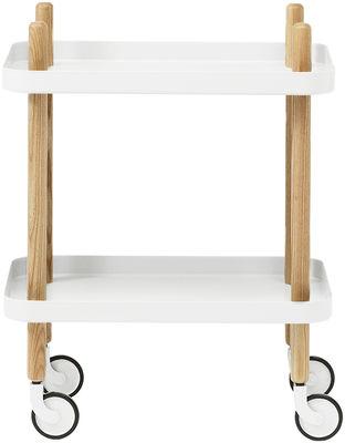 Möbel - Beistell-Möbel - Block Ablage / auf Rollen - Normann Copenhagen - Weiß - Esche, Stahl