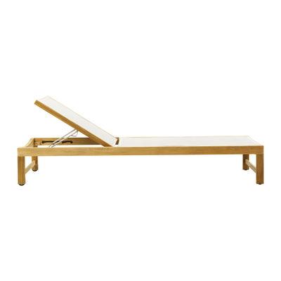 Bain de soleil Sand / Dossier réglable & roulettes - Toile & teck - Ethimo blanc en tissu/bois