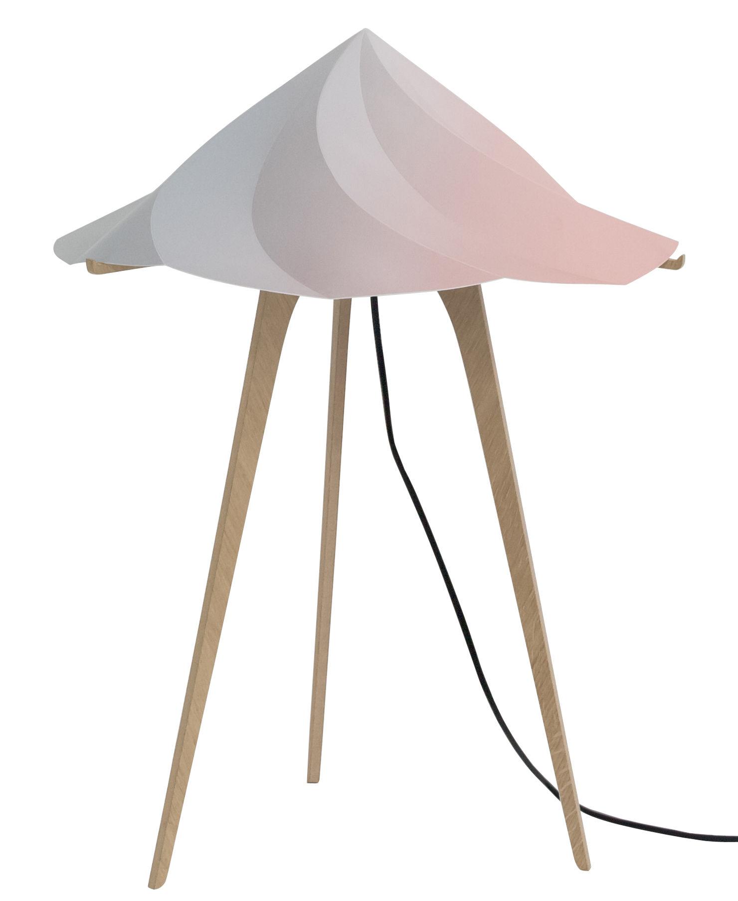 Leuchten - Tischleuchten - Chantilly Large Bodenleuchte / H 65 cm - Moustache - Mehrfarbig - Polypropylène recyclé, Vielschicht-Sperrholz in Eiche