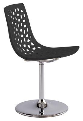 Chaise Pivotante Tess Plastique Hauteur Reglable Noir Opaque