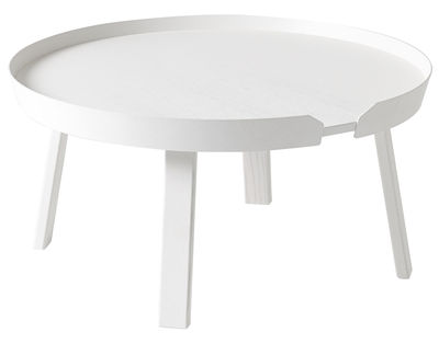 Furniture - Coffee Tables - Around Large Coffee table - Ø 72 x H 37,5 cm by Muuto - White - Tinted ashwood
