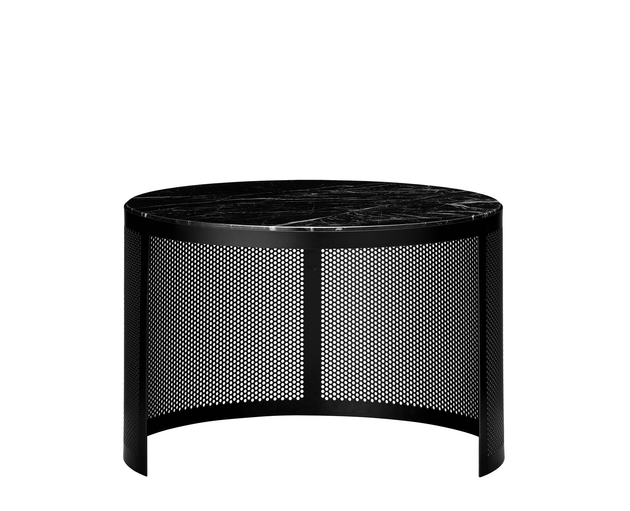 Furniture - Coffee Tables - Pausillus Small Coffee table - / Perforated metal & marble by AYTM - Small / Black - Fer peint perforé, Marble