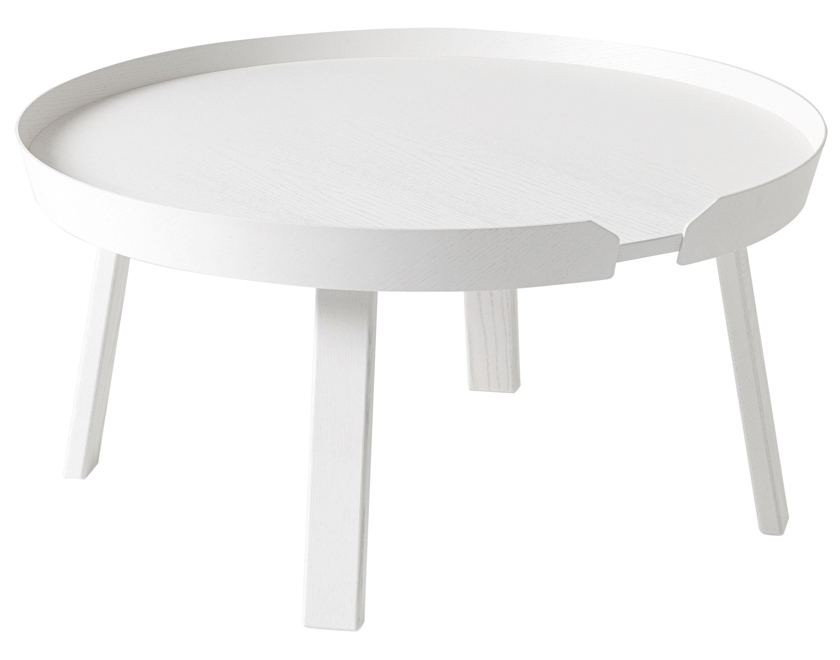 Möbel - Couchtische - Around Large Couchtisch / Ø 72 cm x H 37,5 cm - Muuto - Weiß - getönte Esche