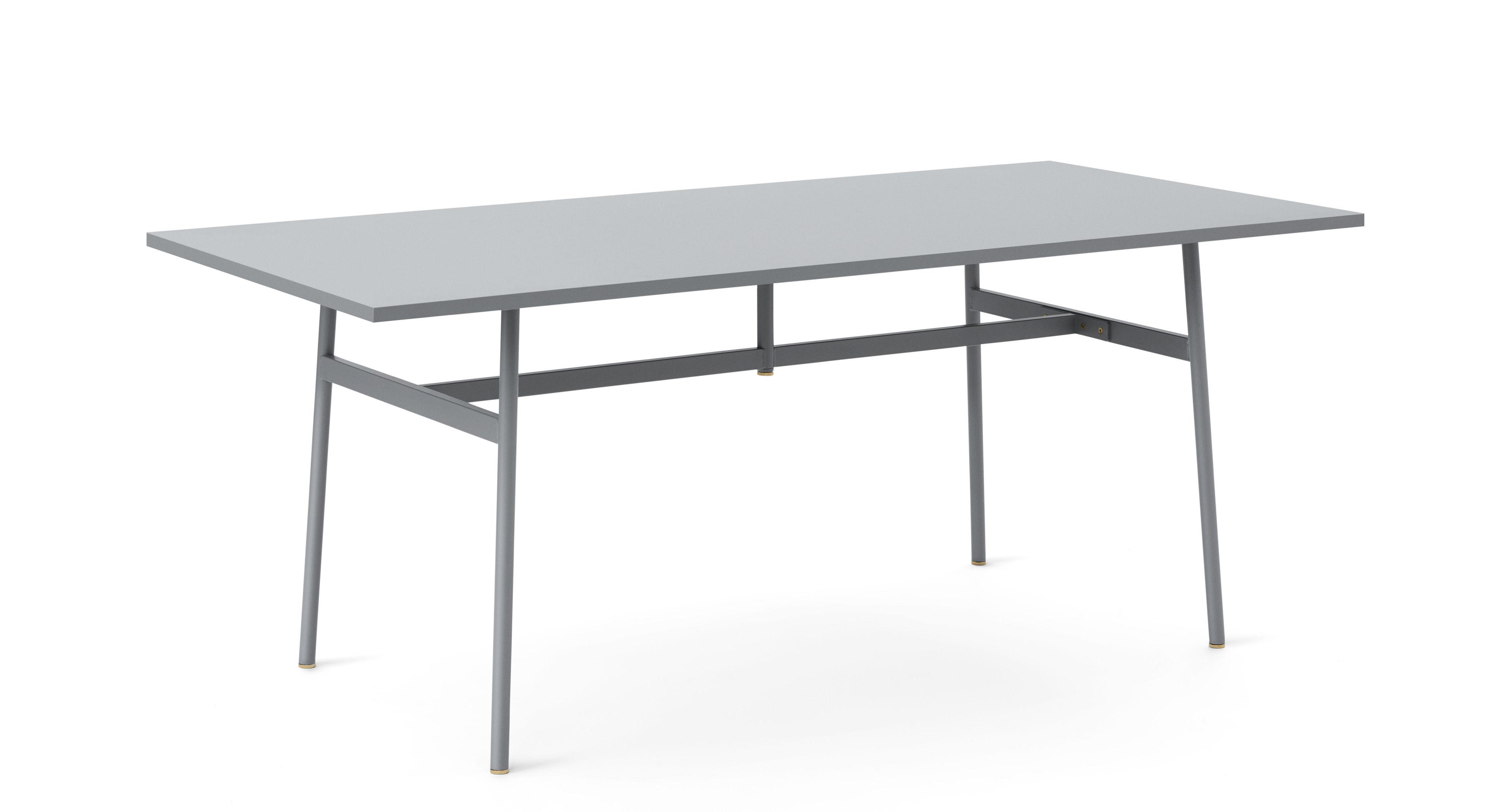 Furniture - Office Furniture - Union Desk - / 180 x 90 cm - Fenix laminate by Normann Copenhagen - Grey - Steel, Stratifié Fenix