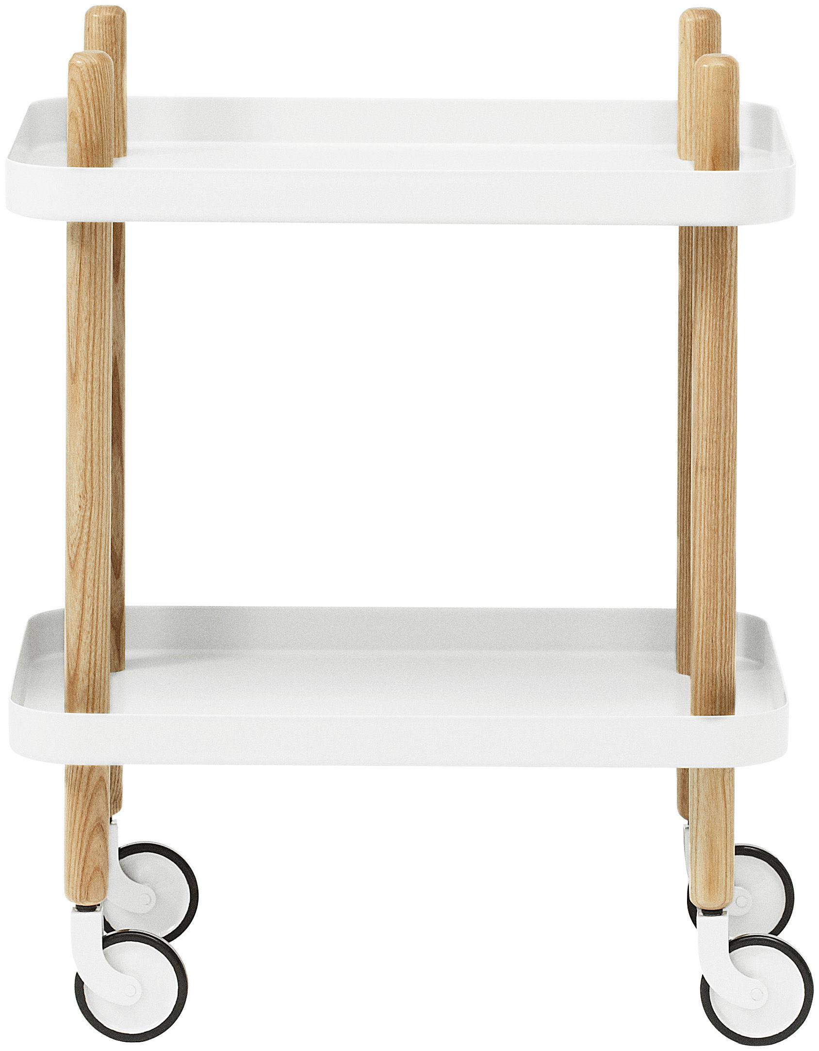 Mobilier - Compléments d'ameublement - Desserte Block /Sur roulettes - Normann Copenhagen - Blanc - Acier, Frêne