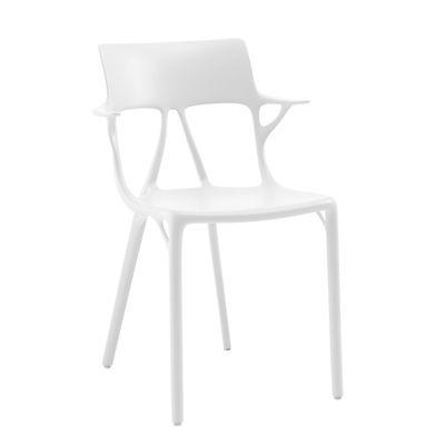 Mobilier - Chaises, fauteuils de salle à manger - Fauteuil empilable A.I / Conçu par une intelligence artificielle - Kartell - Blanc - Technopolymère thermoplastique recyclé